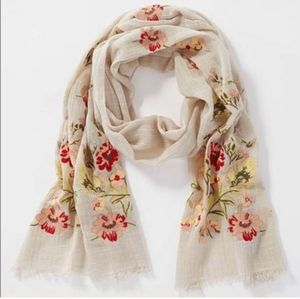Nwt J.ill floral embroidered tan scarf
